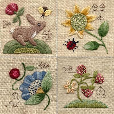 elizabethan blackwork patterns done in crewels, lovely rabbit