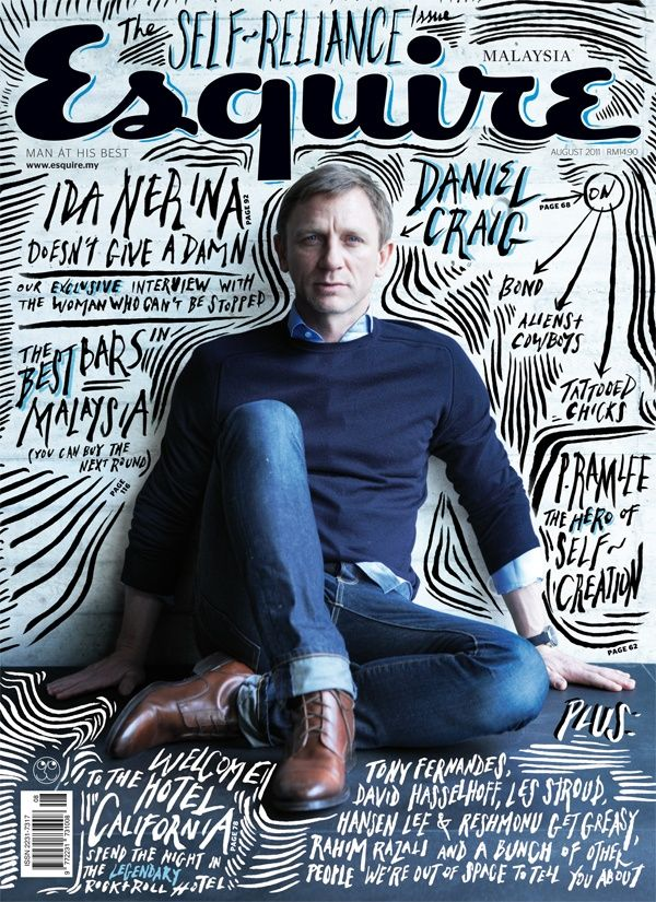 Love the hand lettering, doodling going on in this front cover for Esquire magazine