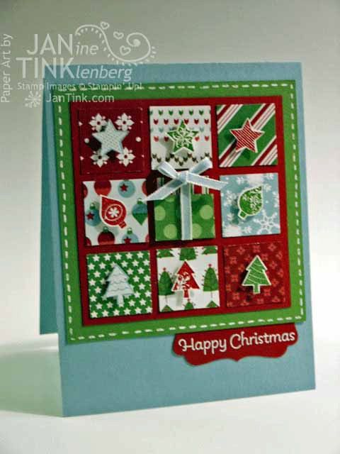 Christmas Quilt Happy Merry Christmas Greeting Card by JanTink, $5.95