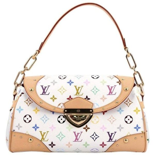Preowned Louis Vuitton Beverly Handbag Monogram Multicolor Mm (2.595 BRL) ❤ liked on Polyvore featuring bags, handbags, multiple, top handle bags, white hand bags, white handbags, louis vuitton handbags, white purse and shoulder strap handbags