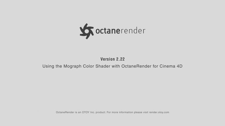 Using the Mograph Color Shader with Octane Render for Cinema 4D