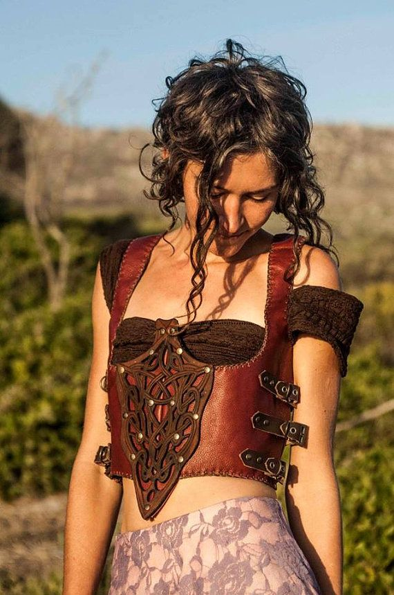 Red Leather Steampunk Design Handmade Female Waistcoat