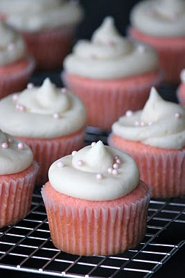 Pink Velvet Cupcakes - These are pretty and sound very tasty!  I might make them even better by adding white chocolate chips.  Yum!