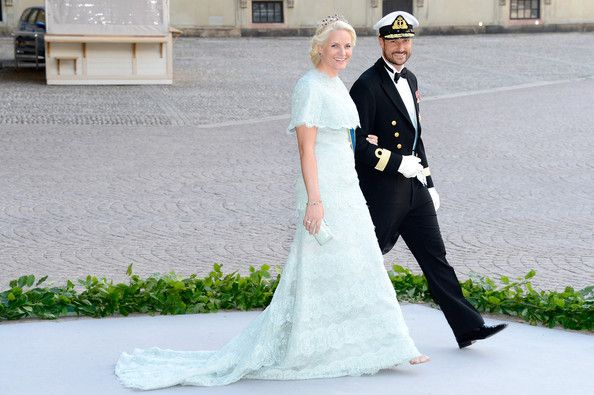 Crown Princess Mette- Marit and Crown Prince Haakon  attend the wedding of Princess Madeleine of Sweden and Christopher O'Neill hosted by King Carl Gustaf XIV and Queen Silvia at The Royal Palace on June 8, 2013 in Stockholm, Sweden.