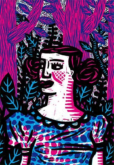 """Another woodcut print from Belgian illustrator Isabelle Vandenabeele. Love her colours and style and the dreamy lush world she's created. """"La amante del misdo"""" - 2009."""