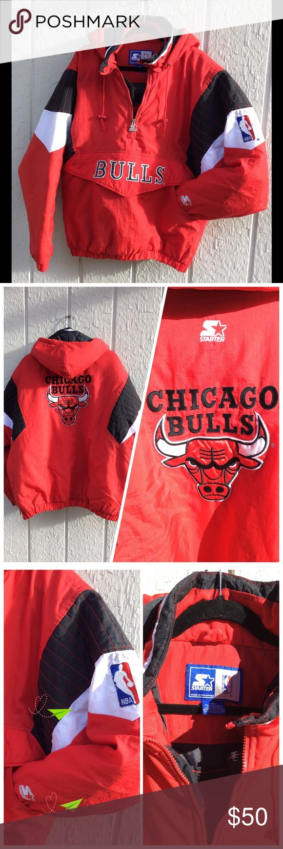 """Starter Chicago Bulls insulated 1/2 Zip Jacket Vintage. Starter Chicago Bulls insulated 1/2 zip pullover jacket. Toggled drawstring hood, 1/4 zip hem, front hand warmer pouch & Velcro font pouch. Good used condition. Light spotting indicated & jump ring bent on zipper pull (reflected in price). XL 30"""" across chest, 31"""" long.  Nice, bright colors. Clean. FANtastic gift! Starter Jackets & Coats"""