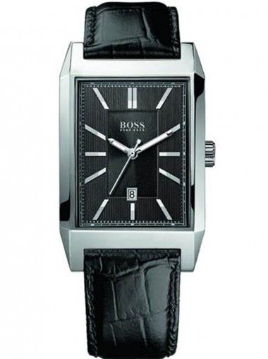 Hugo Boss Gents Stainless Steel Black Oblong Watch 1512915