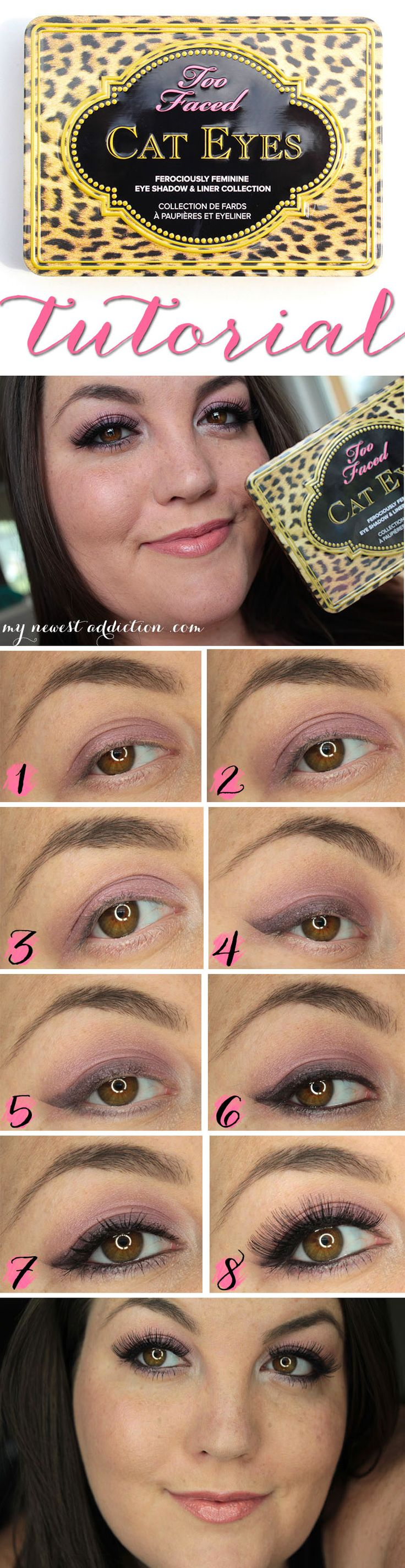 Step by Step tutorial for the Too Faced Cat Eyes Palette!  www.mynewestaddiction.com