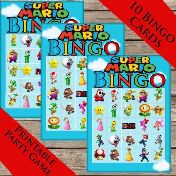 Super Mario Bros. Bingo! 10 Extra Cards! Digital download! Mario Brothers Printable party Game!