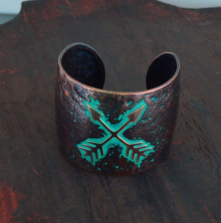 Cowgirl Hammered Copper tone metal Bracelet  CUFF Gypsy Crossed ARROW  western  #Unbranded #Cuff