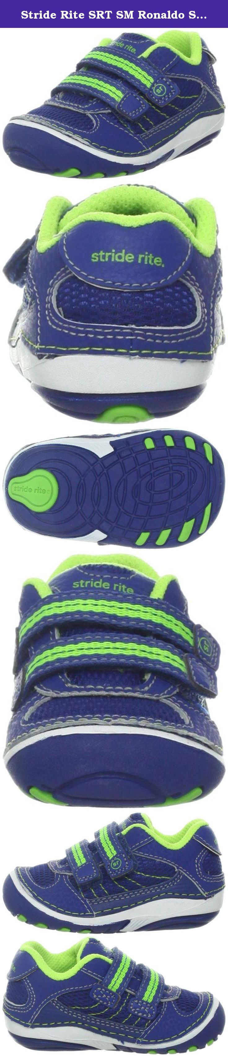 Stride Rite SRT SM Ronaldo Sneaker (Infant/Toddler),Blue/Green,3 W US Infant. Dual hook-and-loop closure straps secure a play-ready sneaker constructed with rounded edges and signature Sensory Response Technology so your little one can develop a stable, natural gait. Color(s): blue/ green. Brand: Stride Rite. Style Name: Stride Rite 'Ronaldo' Sneaker (Baby & Walker). Style Number: 667534. Manufacturer part number BB47442.