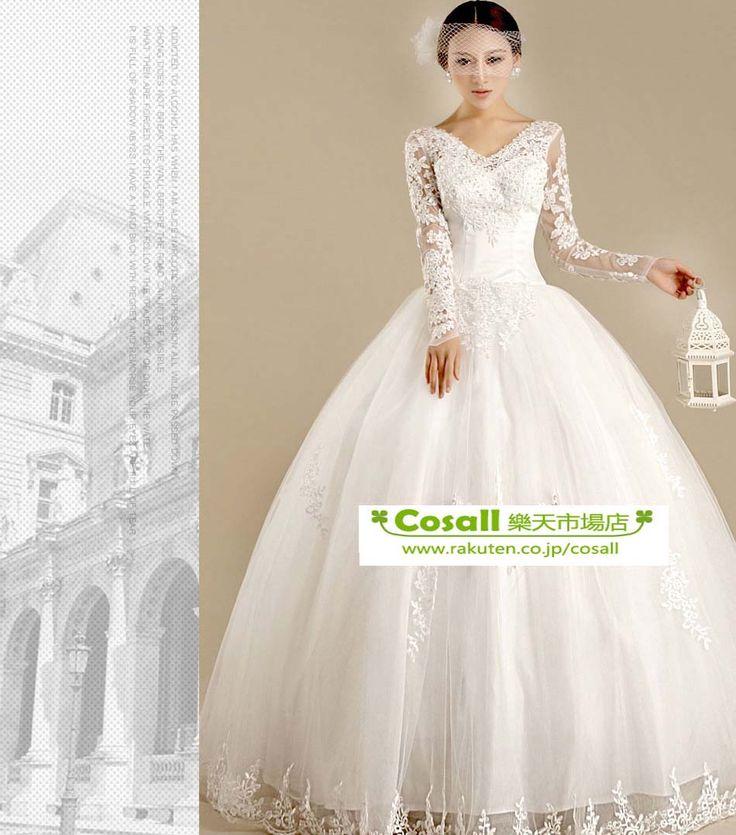 冬長袖襟ありウェディングドレス結婚式パーティードレス