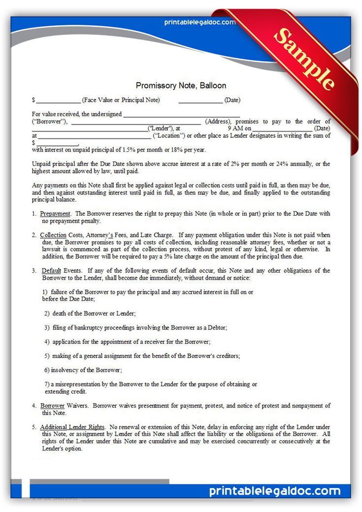 Free Printable Promissory Note, Balloon Legal Forms