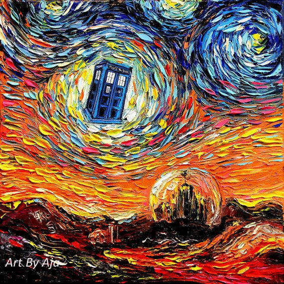 Dr Who Art – Tardis Starry Night print van Gogh Never Saw Gallifrey by Aja 8×8, 10×10, 12×12, 20×20, and 24×24 inches choose