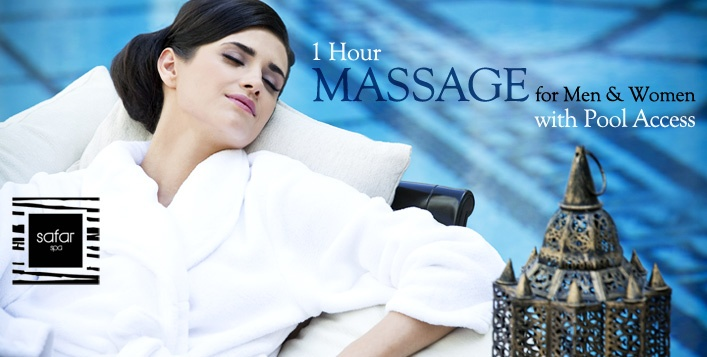 Soak up some much needed relaxation with a 1 Hour Massage using Clarins products and Swimming Pool Access at Safar Spa in the 5 Star  Mövenpick Hotel Ibn Battuta Gate Dubai. Prices start from AED 149 – 4 massages to choose from!