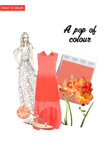 'A pop of colour' by me on Limeroad featuring Orange Dresses, White Sandals with Synthetic Pearl Gold Earrings