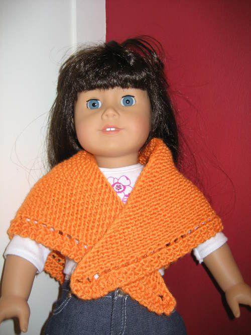 Knitting Pattern For Dolls Shawl : American Girl Doll Triangular Shawl with Eyelet American ...