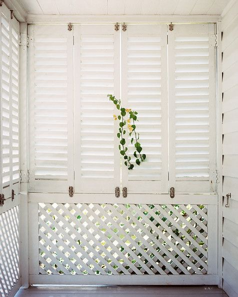 Porch Photo - White shutters and trellises on an enclosed porch