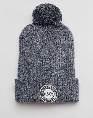 Темно-синяя меланжевая шапка-бини с помпоном Herschel Supply Co
