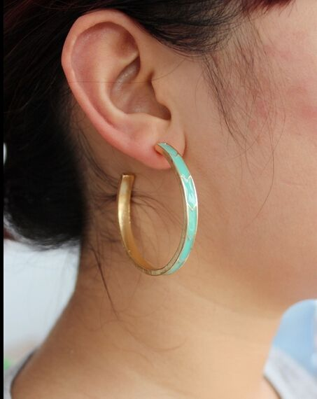 Alloy gold plated trendy jewelry enamel pink green color cuff big hoop earrings for women gift earring for girls fj396 YOUREM