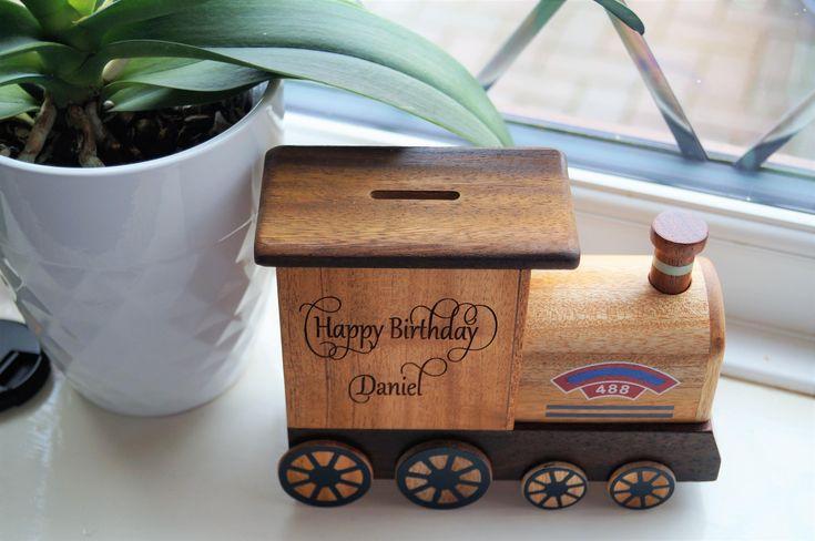 Childrens wooden money box, personalised money box, train money box, christening gift, childs birthday gift, money box, childs gift by celebrateyourway on Etsy