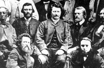 Riel, Louis and the Provisional Government  Riel's (centre), first provisional government, 1869 (courtesy Glenbow Archives/NA-1039-1).