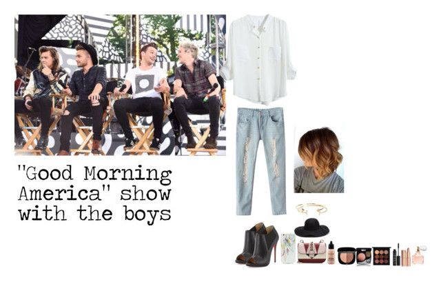 """""""GMA show with the boys"""" by enjoyvampire ❤ liked on Polyvore featuring Christian Louboutin, OTM, Valentino, Aéropostale, MAC Cosmetics, Charlotte Tilbury, Chanel, Marc Jacobs, Guerlain and NARS Cosmetics"""