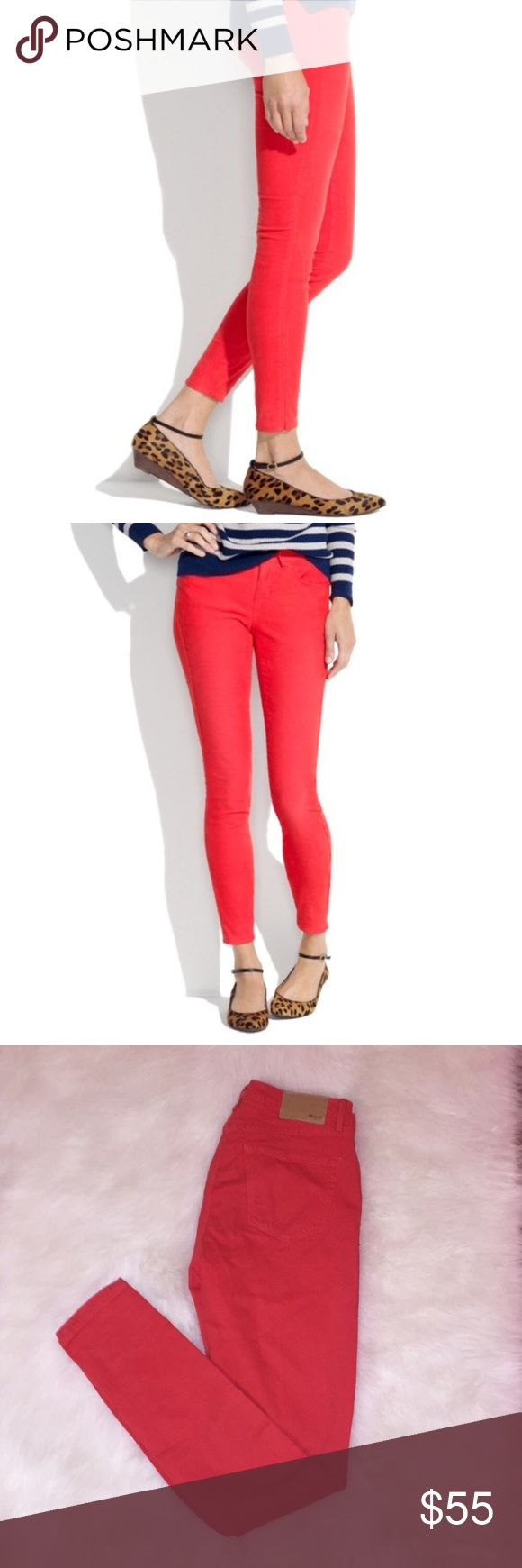 MADEWELL Bright Coral Skinny Skinny Pants 26 Brand new with tags MADEWELL Orange Red Skinny Skinny Pants in size 26. Inseam 32. Madewell Pants