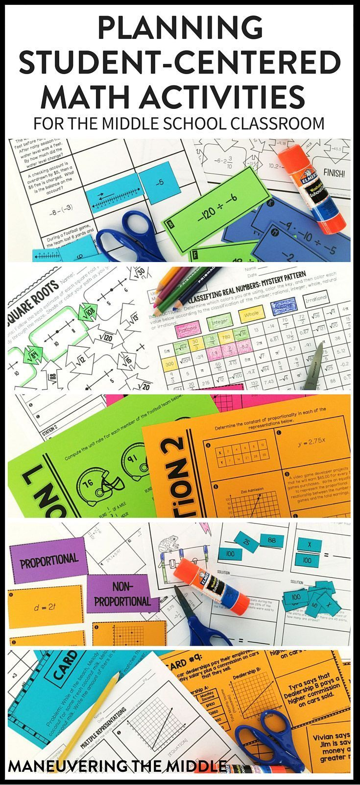 Hands-on math activities that are easy to plan and implement for all student levels. Utilize these middle school math activities in 6th grade, 7th grade, and 8th grade.   maneuveringthemid...