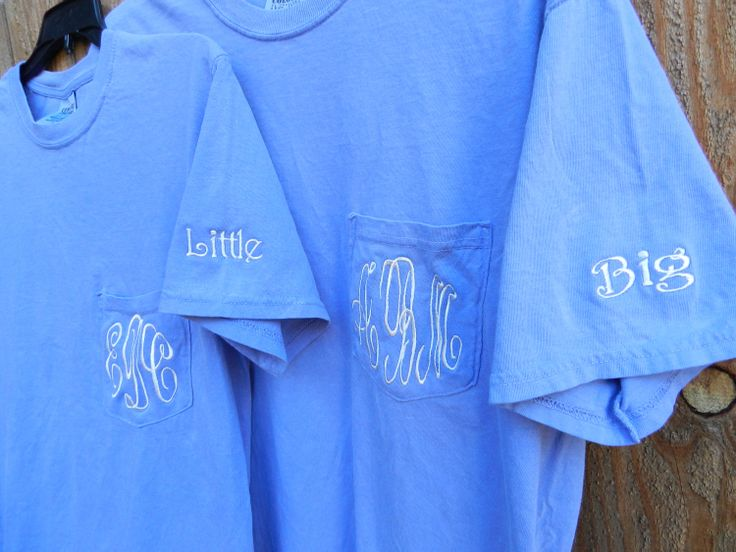 Soroity Big/Little Monogrammed Pocket Tee/Bridesmaids Gifts. $20.95, via Etsy.