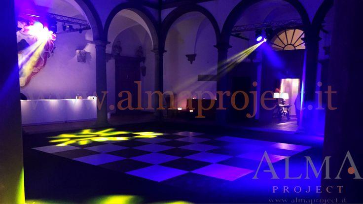 ALMA PROJECT - Villa le Corti - Chessboard Dancefloor - spot moving heads - blue uplights