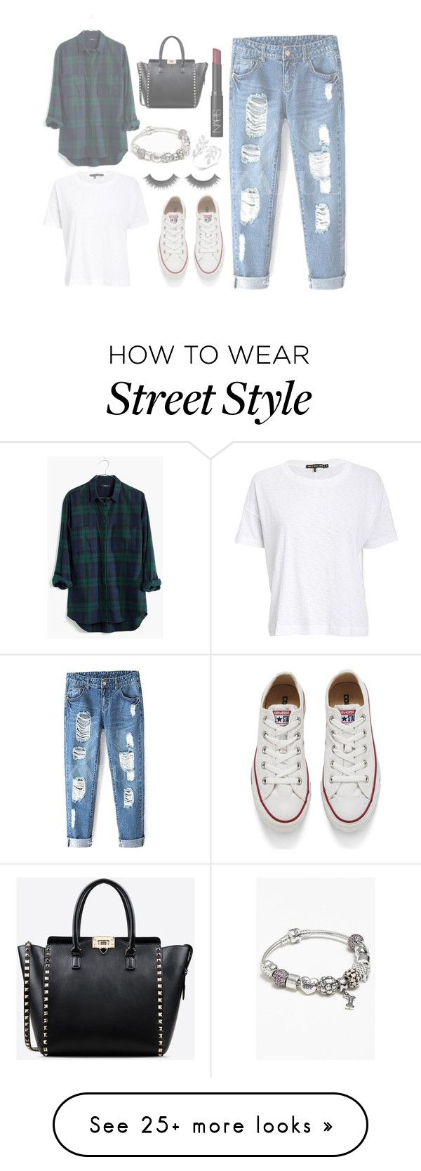 """Street style"" by danaceciliamonroe on Polyvore featuring Madewell, rag & bone/JEAN, Converse, NARS Cosmetics, Valentino, Pandora, women's clothing, women, female and woman"