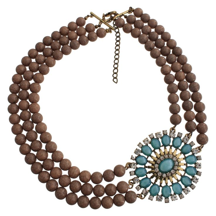 Women's Statement Necklace with Beads - Gold/Brown/Blue (16), Gold/Clear/Brown/Teal