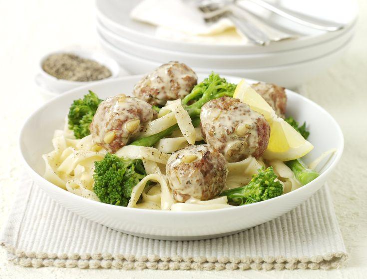 lemon turkey meatballs with broccoli and noodles - british