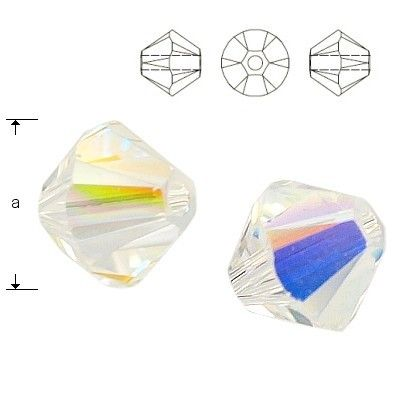 5328 Bicone 6mm Crystal AB 10 pieces  Dimensions: 6,0mm Colour: Crystal AB 1 package = 10 pieces