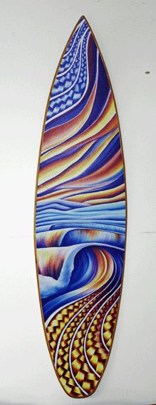 Mini Surfboard that depicts the ever changing, colourfully connected New Zealand coastline.
