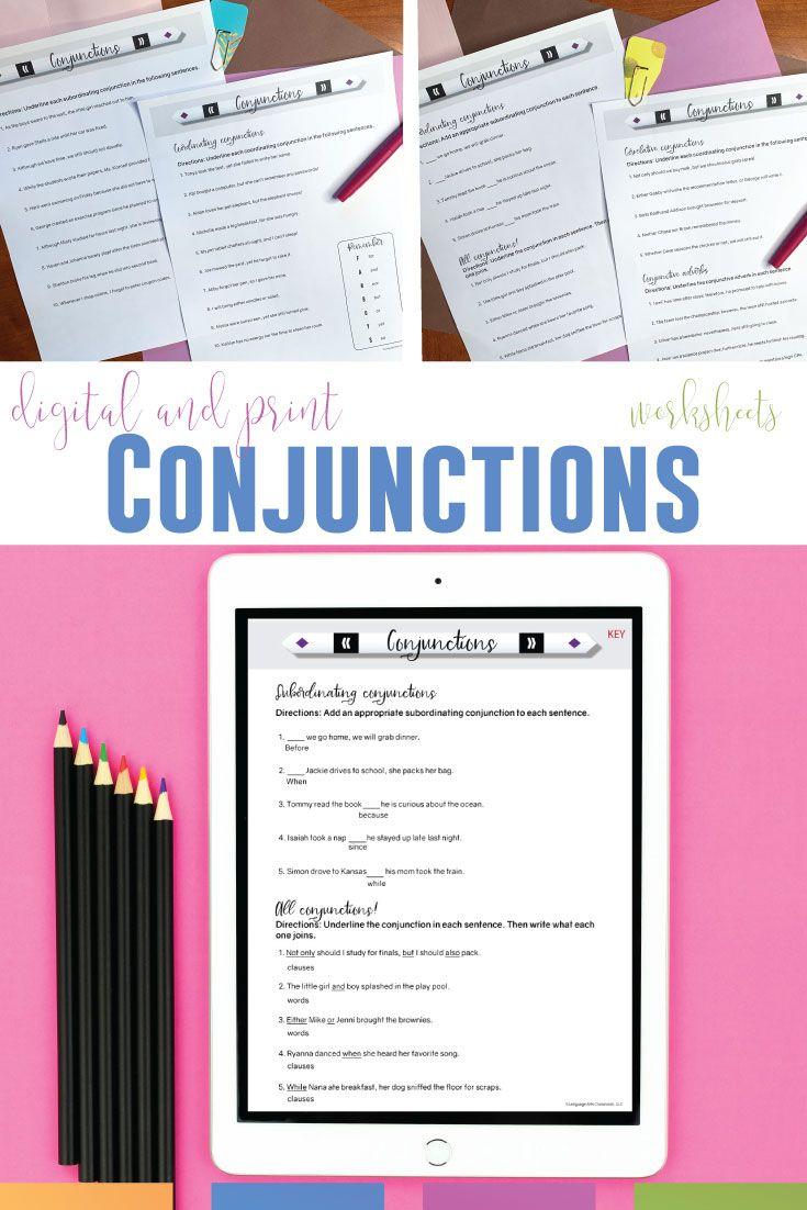 Conjunction Worksheets   Middle school language arts lessons [ 1102 x 735 Pixel ]