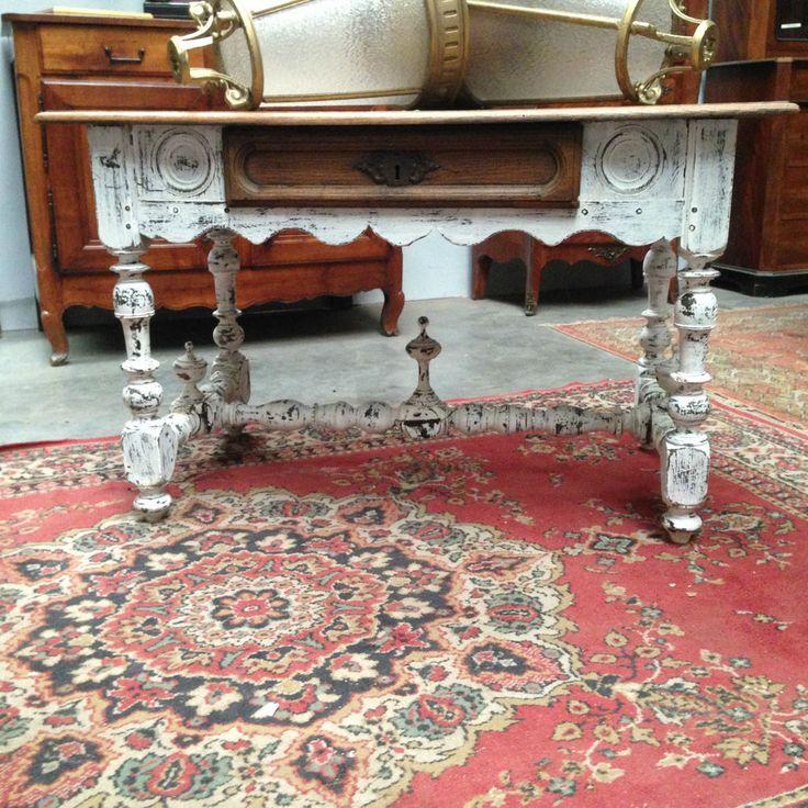 table bureau en chêne massif entretoise patine desus chêne naturel XIX siècle
