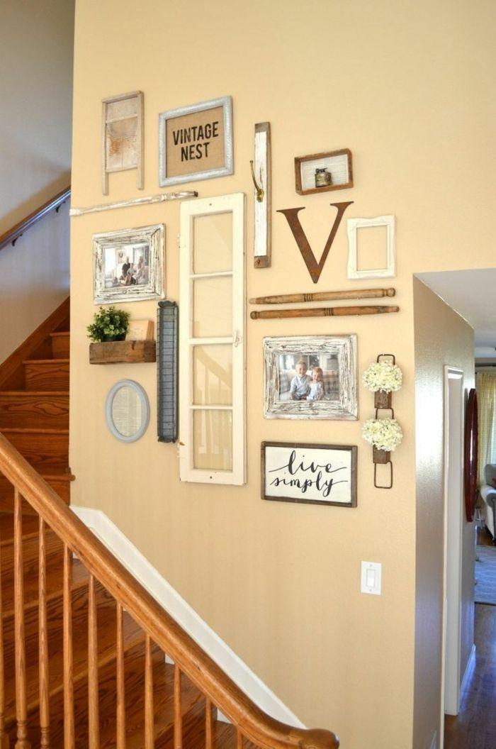 Vintage Bilder für Treppenhaus Aufschriften lebt einfach, Vintage Nest