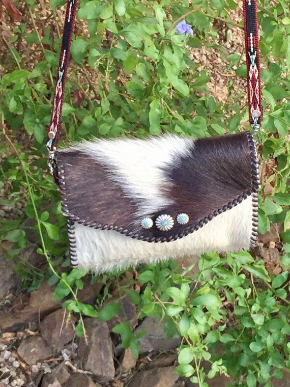 Two color cowhide crossover purse by MWCowhideDesigns on Etsy