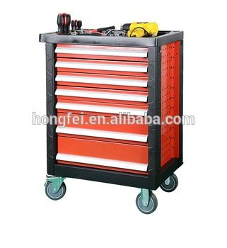 double wall red rolling tool box with holes for accessories
