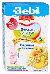 БЕБИ Премиум Овсяная с персиком молочная каша с 5 мес. 250г  — 147р.  Молочная овсяная каша с персиком   Овсянка является очень полезным продуктом. Она богата белком, растительными жирами, углеводами, пищевыми волокнами, улучшающими перистальтику кишечника. Входящие в ее состав насыщенные жирные кислоты помогают иммунной системе малыша. Фруктовая добавка дарит каше не только нежный вкус и аромат, но также витамины и минералы. Молочная овсяная каша с персиком содержит железо и йод, обогащена…