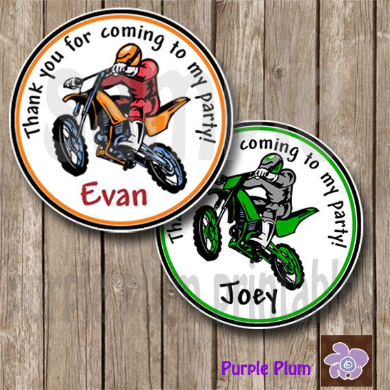 Dirt Bike Favor Tag  Motocross  Dirtbike by PurplePlumPrintables