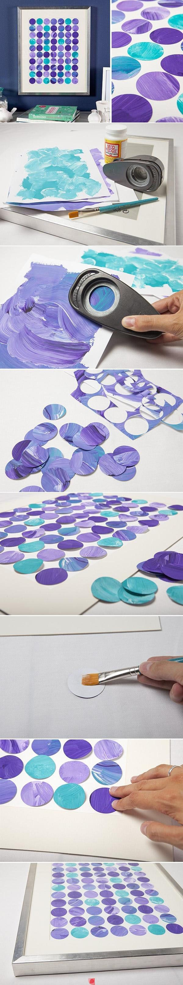 It's so simple, just mix paint, cut out circles, and place together to form a cute piece of artwork
