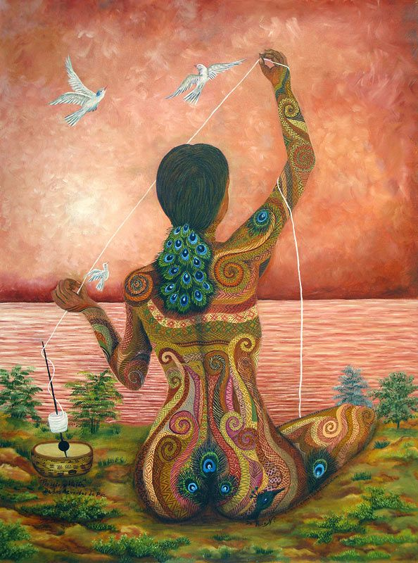"""""""Proceso y Visión de los Acuerdos de Paz [Process and Vision of the Peace Accords]"""" by Paula Nicho Cumez, 2007. Oil on canvas. 39""""h x 29""""w  Maya woman weaver- perhaps the goddess Ixchel- spinning her thread represents the hopes of the indigenous people for the creation of a lasting peace, after more than three decades of war. The woman's graceful figure unites the earth with the lake and sky, both of which have taken on the color of human skin."""