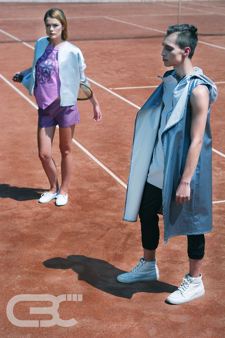 Tennis court, sportswear, sport luxe, fitness, campaign photos, trends, unisex,  metallic blue vest, grey hoodie, black pants, purple shorts, pink tshirt, grey sheer bomber jacket. Order via facebook, pm or e-mail.