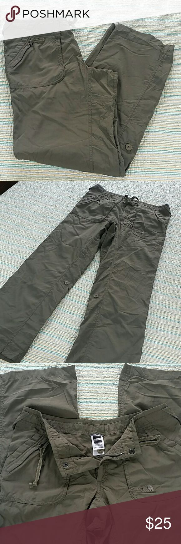 The North Face Pants Size 12 Women's Army Green Ro The North Face Pants Size 12 Women's Army Green Roll-up Casual Cropped Capris The North Face Pants
