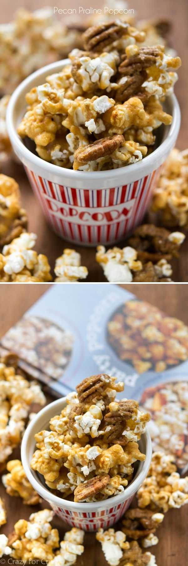 Pecan Praline Popcorn - the best mix of pecan praline and popcorn! It's an easy recipe and so addictive! #movienight