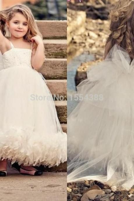 b31a0059a0f3 Floor Length Tulle Girl s Pageant Dresses Spaghetti Strap Ball Gown ...