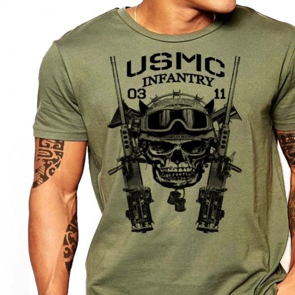USMC T-Shirt US Marines MOS 0311 Infantry Men Cotton Tee Semper Fi                                                                                                                                                                                 More